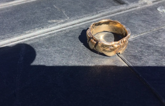 Valdis Zebauers' ring, which was recovered from Lake Dillon.