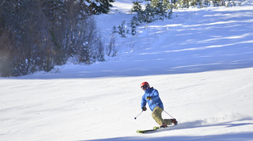 A telemark skier carves up one of the trails at Winter Park Resort on Saturday.