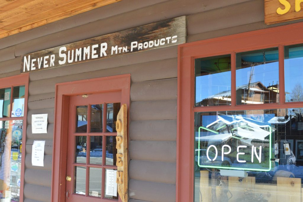 Never Summer Mountain Products only closes three days a year. This and many other businesses in Grand Lake offer year-round services.