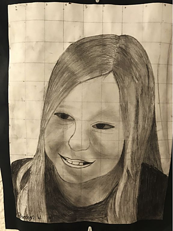Rhedyn W. did this drawing of Kaylee for the fifth grade students' Chuck Close portrait project.
