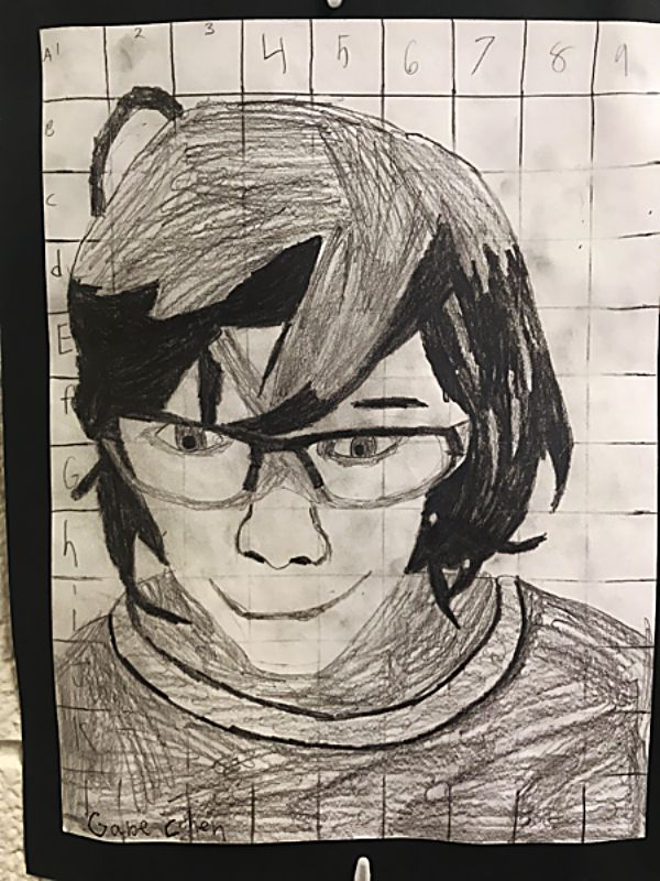 Gabe C. produced this self portrait for the fifth grade students' Chuck Close portrait project.