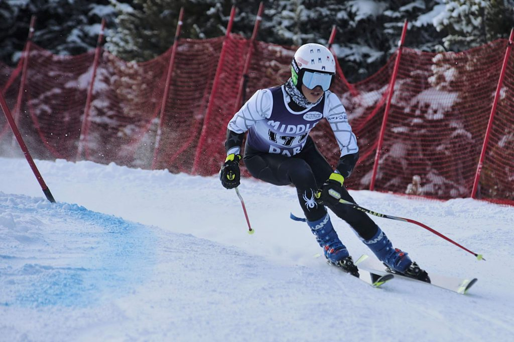 Sofia Olsson flies down the girls giant slalom in her first run on the course Friday at Winter Park. Olsson was seventh overall.