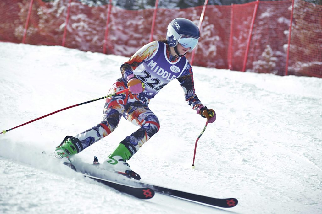 Middle Park sophomore Taylor Lahrman competes in the girls giant slalom event Friday at Winter Park Resort.