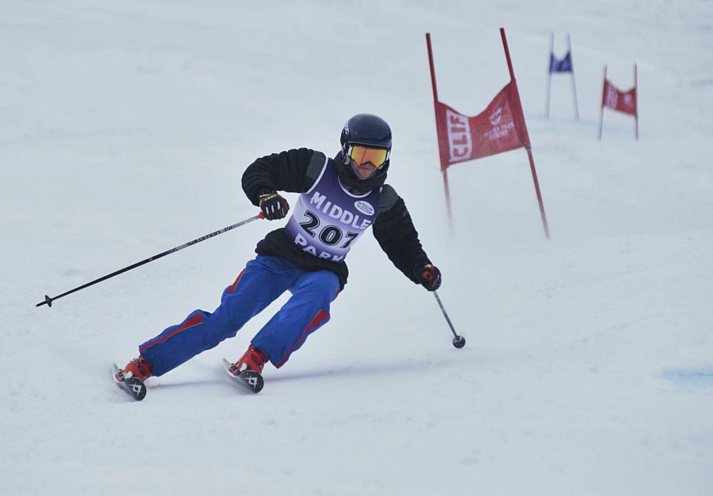 Middle Park's Daniel Juricek races down the giant slalom course on Friday. Juricek finished 38th overall.