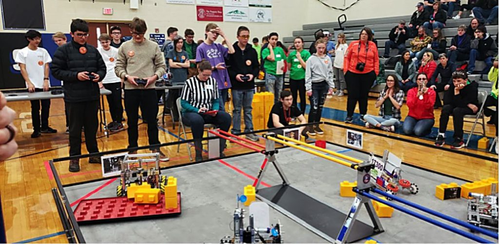 The new Middle Park High School robotics teams compete in their first competition at Coal Ridge High School in New Castle. One team placed fourth in the qualifying match.