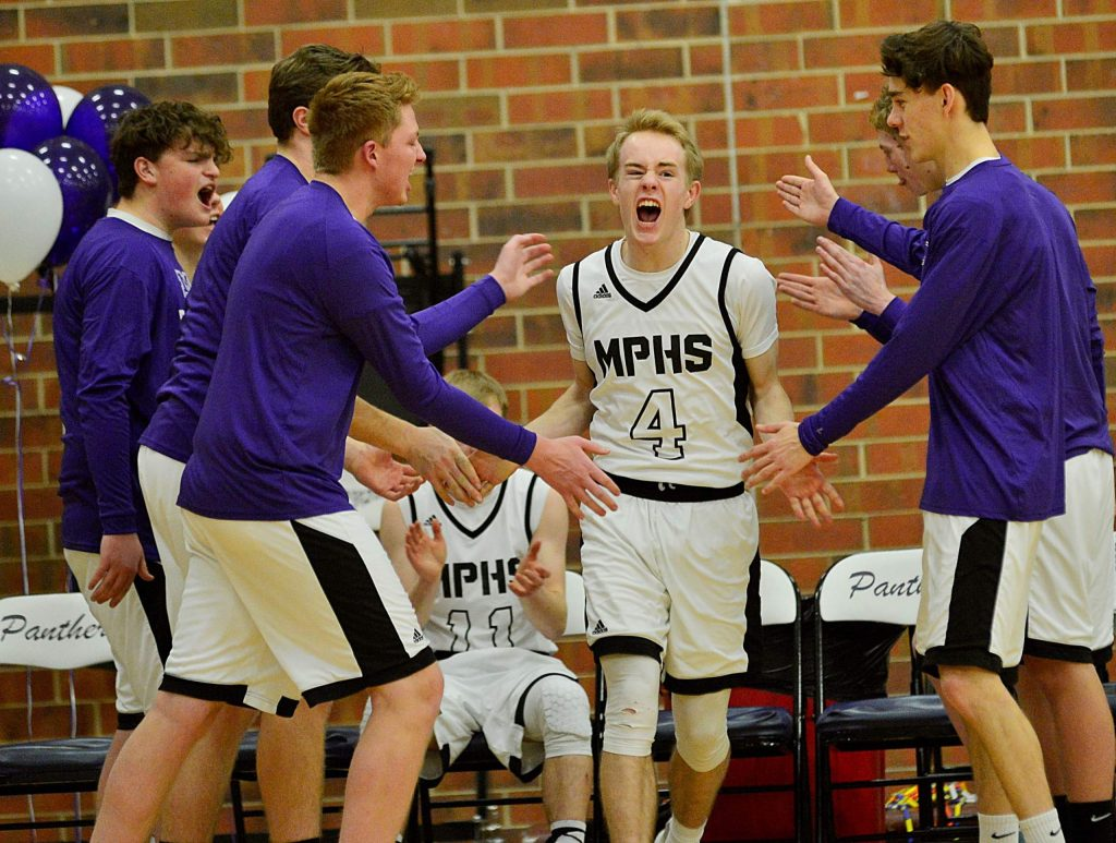 Middle Park senior Alec Laraby is introduced before a boys basketball game against Sheridan on Tuesday in Granby.
