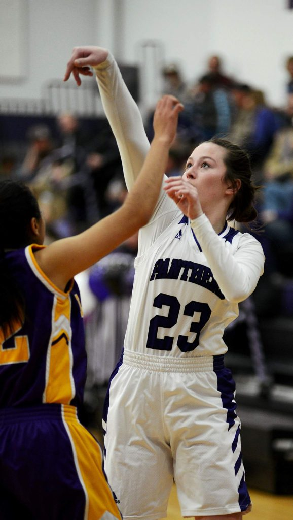 Middle Park sophomore Jenna King follows her shot during a playoff game against Lake County on Tuesday in Granby.