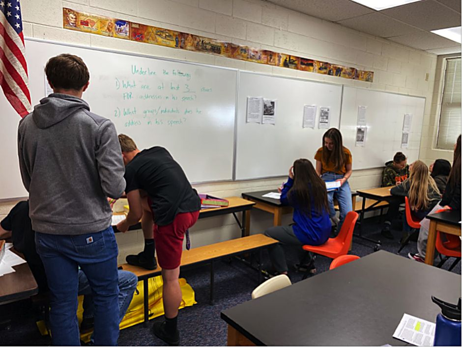 MPHS students in Todd Williams' class look at primary and secondary sources about New Deal programs for part of their studies about the Great Depression.