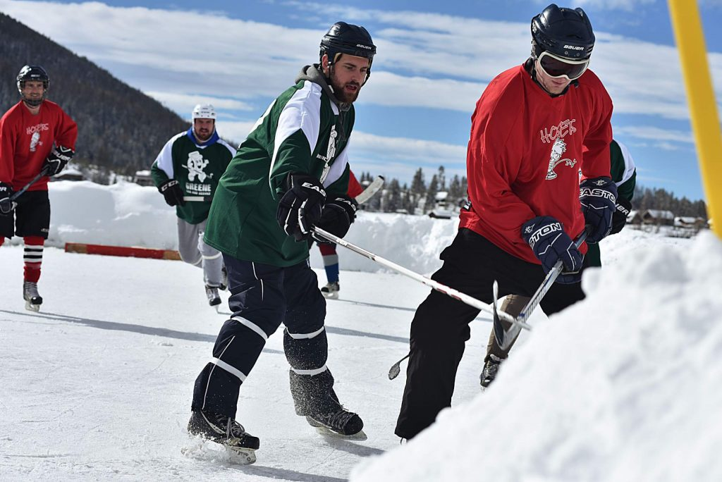 With blue skies Saturday, the only evidence of the storm that dropped 18 inches on Grand Lake the day before were the piles of snow surrounding the hockey rinks at the Pond Hockey Classic. Thanks to the hard work of organizers and volunteers, the third annual tournament was a success.