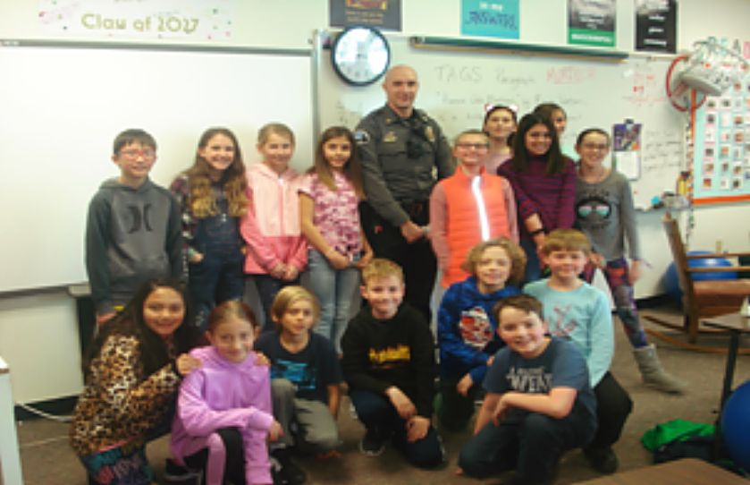 Fifth grade students at Fraser Valley Elementary are working with Officer Murdoch of the Fraser Winter Park Police Department for a D.A.R.E. program.