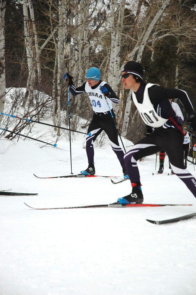 Middle Park's Kimo Sullivan, right, and Sebastian Brower compete at the state championships in Minturn.