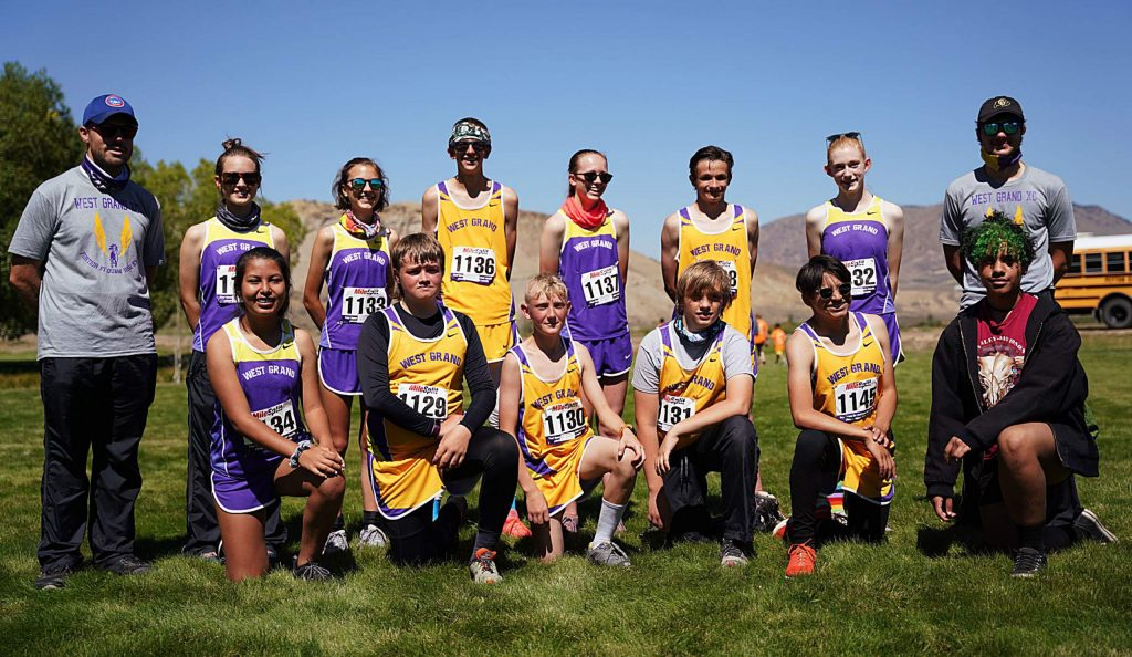 The West Grand cross country teams poses for a photo after the 2020 West Grand Invitational in Kremmling.