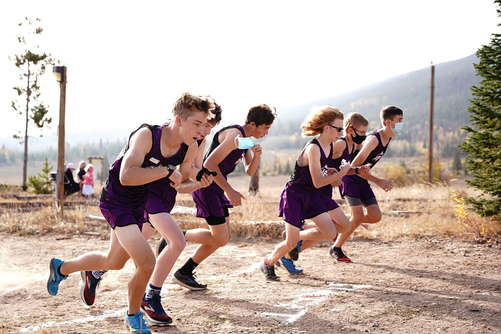 The Middle Park boys cross country team takes off at the start of Saturday's Snow Mountain Ranch Invitational. Middle Park senior Ethan Callarman, far left, won the race in 19 minutes, 7 seconds.