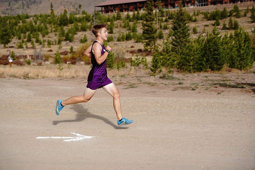 Middle Park senior Ethan Callarman races to the finish line. He beat all other runners Saturday by more than a minute.