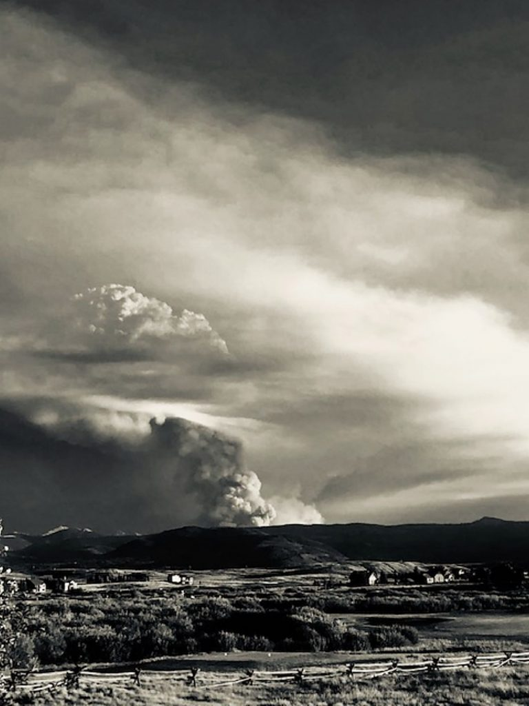 This black and white photo of the Williams Fork Fire was taken Aug. 15 from Grand Elk Golf Club in Granby.