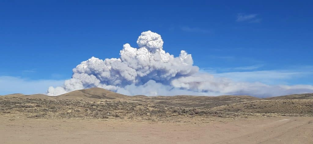 The plume of smoke from the East Troublesome Fire can be seen from Kremmling on Friday.