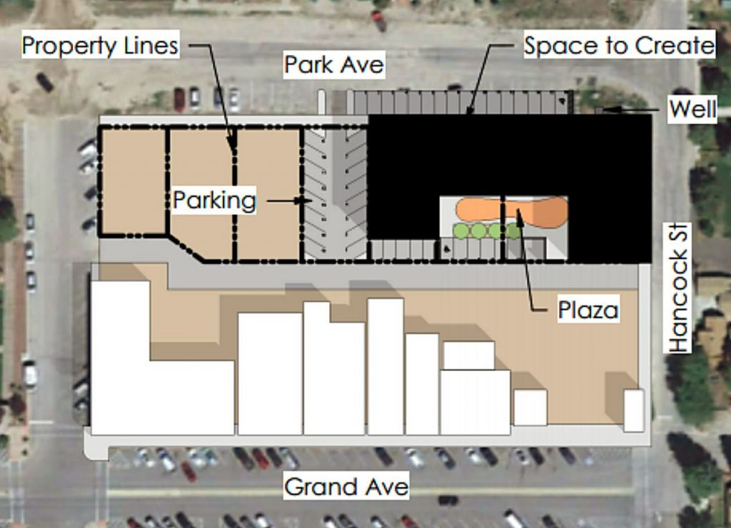 This rendering included in the Grand Lake Board of Trustees meeting agenda shows how a 20-unit workforce housing project could fit on four adjacent public owned lots in downtown Grand Lake.
